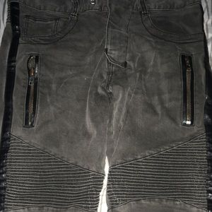 Black Leather Stripe Balmain Jeans 100% Authentic